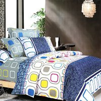 Navy Design, 100% Cotton 4PC Duvet Cover set (King Size)